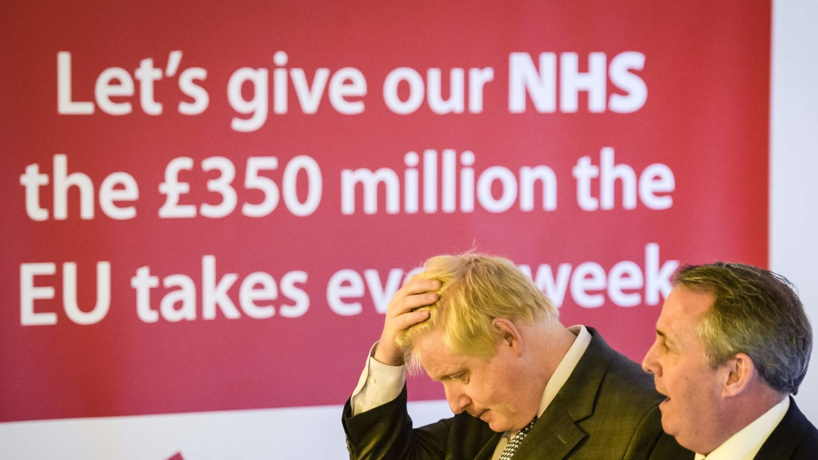 The two versions of the £350 million for the NHS slogan