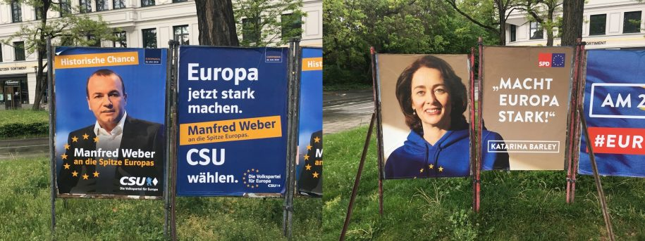 Weber (CSU) and Barley (SPD) posters in München